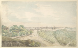 f.21   'Panniput 1792.  54 miles north of Delhi in Bengal.'  Landscape with city in the background.
